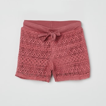 MAX Chevron Print Lace Design Shorts