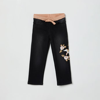 MAX Dark Washed Jeans with Floral Embroidery