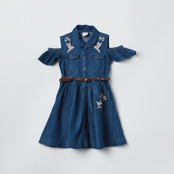 MAX Floral Embroidery Cold-Shoulder Denim Shirt Dress