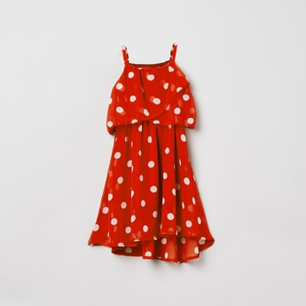 MAX Polka-Dot Print Sleeveless Popover Dress