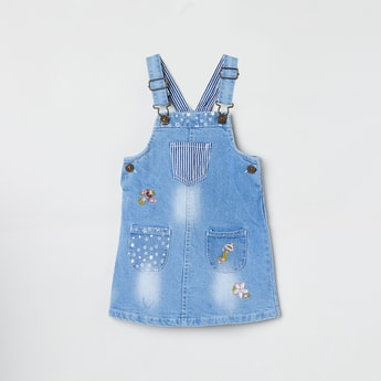MAX Stonewashed Denim Dungarees with Applique