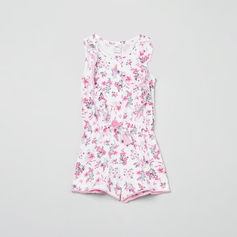MAX Floral Print Playsuit with Bobble Trim