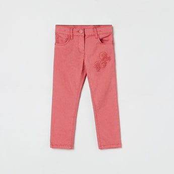 MAX Floral Embroidery 5-Pocket Trousers