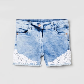 MAX Heavily Washed Denim Shorts with Floral Applique