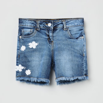MAX Embroidered Stonewashed Denim Shorts