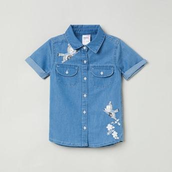 MAX Lightwashed Short Sleeves Denim Shirt