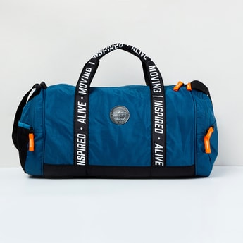 MAX Typographic Print Textured Gym Duffel Bag