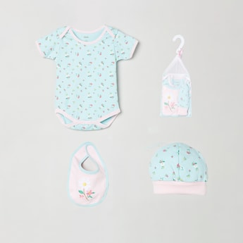 MAX Printed Bodysuit with Beanie and Embroidered Bib