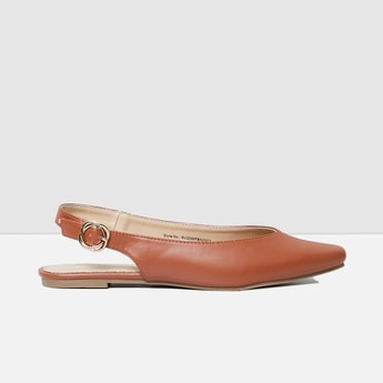 MAX Solid Pointed-Toe Buckled Backstrap Ballerinas