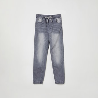 MAX Stonewashed Denim Joggers with Whiskers