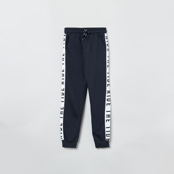 MAX Printed Tape Detailed Drawstring Waist Joggers