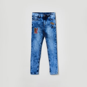 MAX Heavily Washed Jeans with Applique