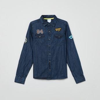 MAX Applique Detail Full Sleeves Denim Shirt