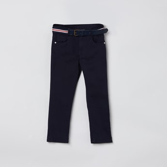 MAX Solid 5-Pocket Trousers with Detachable Belt