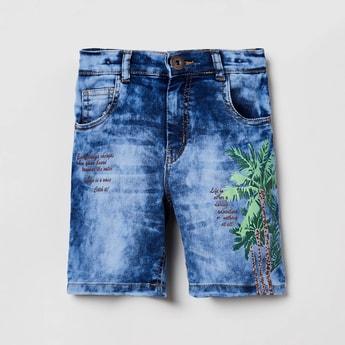 MAX Stonewashed Printed Denim Shorts
