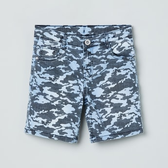 MAX Camouflage Print Denim Shorts