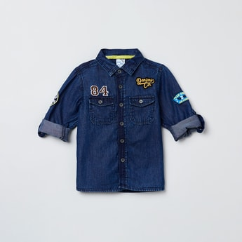 MAX Embroidered Full Sleeves Denim Shirt