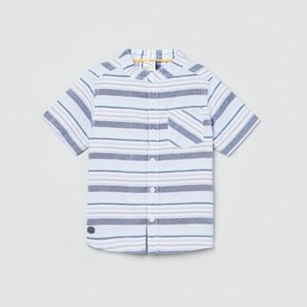 MAX Striped Short Sleeves Band Collar Shirt