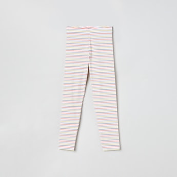 MAX Striped Full-Length Leggings with Elasticated Waistband