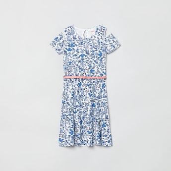 MAX Printed Cold-Shoulder A-line Dress