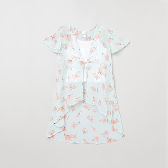 MAX Floral Print Tie-Up Top