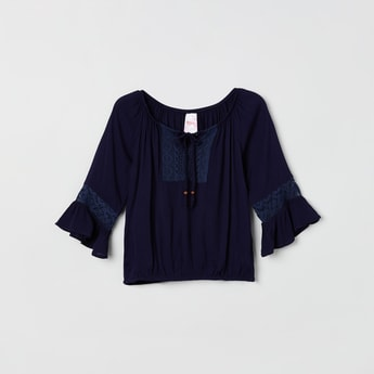 MAX Lace Blouson Top with Bell Sleeves