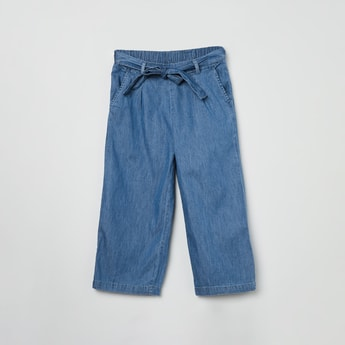 MAX Solid Denim Jeans with Fabric Belt