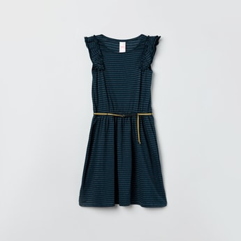 MAX Striped A-line Dress with Belt