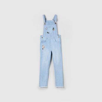 MAX Textured Denim Dungarees with Sequin Embellishments
