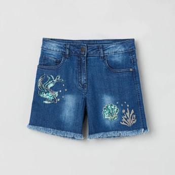 MAX Sequined Frayed Hem Denim Shorts