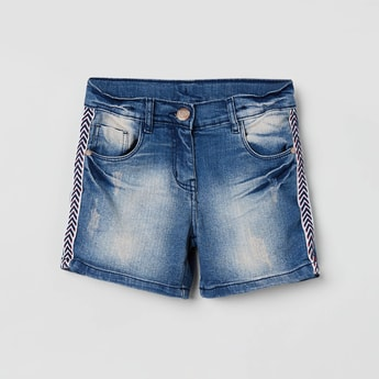 MAX Distressed Denim Shorts with Tape Detail