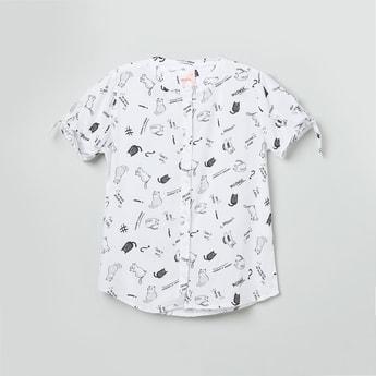 MAX Printed Tie-Up Sleeves Shirt
