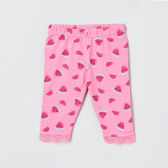 MAX Watermelon Print Lace Trimmed Leggings