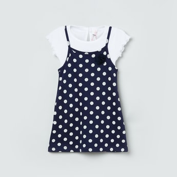 MAX Polka-Dot Print A-line Dress with Attached Top