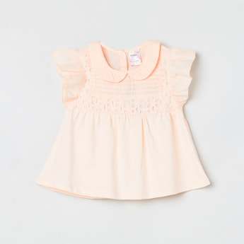 MAX Schiffli Embroidery A-line Top with Peterpan Collar