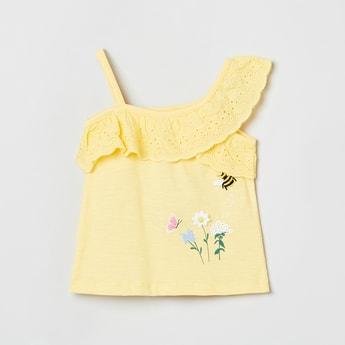 MAX Floral Print Schiffli One-Shoulder Top