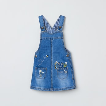 MAX Embroidered Romper with Patch Pockets
