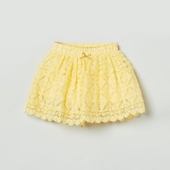 MAX Floral Pattern Lace Detailed Skirt