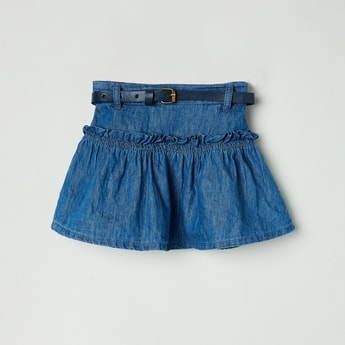 MAX Solid Denim Skirt with Belt