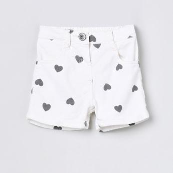 MAX Heart-Shaped Printed Denim Shorts