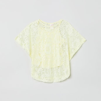 MAX Lace Overlay Butterfly Sleeves Top with Camisole