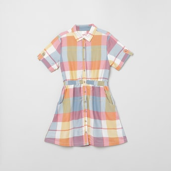 MAX Checked Short Sleeves A-line Dress