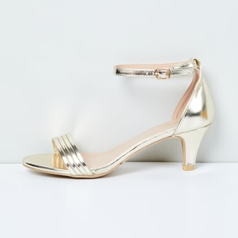 MAX Solid Ankle-Strap Kitten Heel Sandals