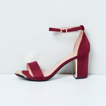 MAX Solid Ankle-Strap Block Heels