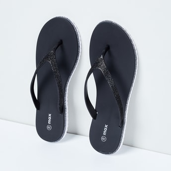 MAX Glittered V-strap Slippers