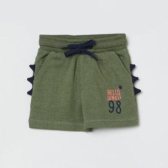MAX Embroidered Drawstring Waist Shorts with Applique