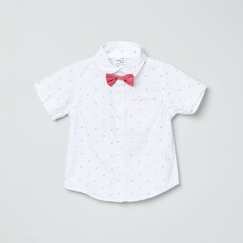 MAX Printed Short Sleeves Shirt with Bow Tie