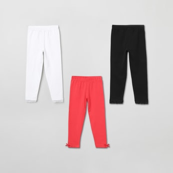 MAX Solid Leggings with Bow - Pack of 3 Pcs.