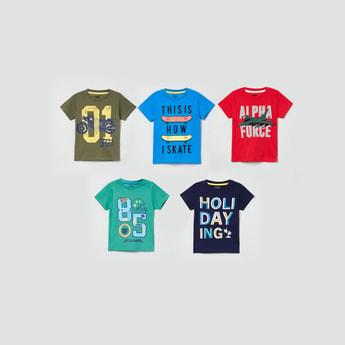 MAX Printed Crew Neck T-shirt - Set of 5 Pcs.