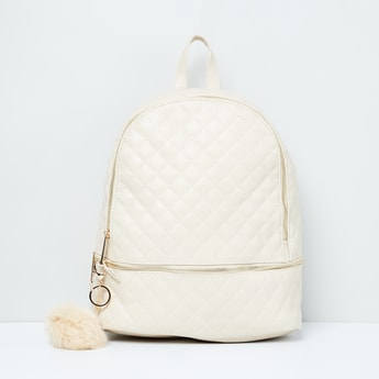 MAX Quilted Zip-Closure Backpack with Pom-Pom Detail